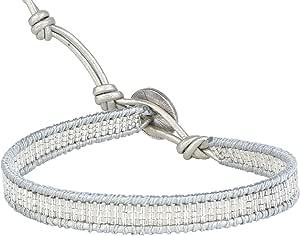 Kelitch, braccialetto da donna in pelle bianca con perline turchesi