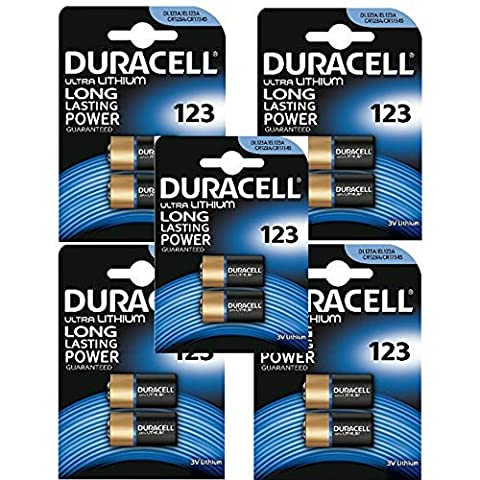 10 x CR123 3V Duracell Ultra Lithium Photo Battery -