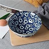 Grande soupe Ramen Noodle Bowl Céréales Dessert Salade de fruits Mélange Bol de service Vaisselle en céramique peinte à la main Creative 7 pouces Porcelaine bleue et blanche (Color : 01)