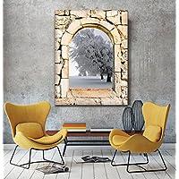Inverno albero 3d vista da una pietra arco finestra Stampa su tela Wall Art, XL, (Archi Wall Art)