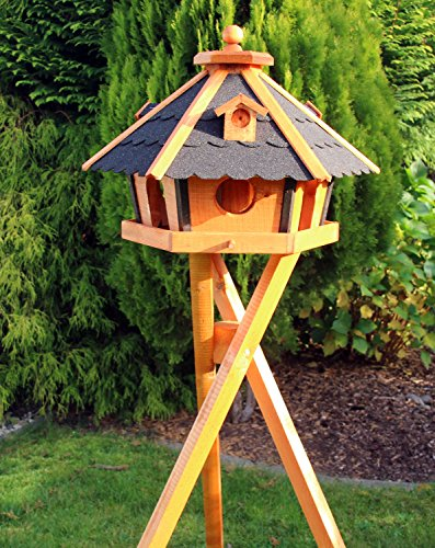 XXL Vogelhaus Vogelhäuser mit Ständer und Solar Typ 24 (Schwarz) - 2