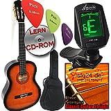Ashley Klassik Gitarren Set in verschiedene Farben + Komplettes Anfänger-Zubehör, Stimmgerät, Tasche, extra Saiten,Gurt, LERN CDROM, ohne Noten spielen lernen. (Sunburst gelb/schwarz Verlauf)