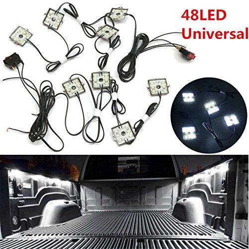 FEZZ Auto Innenraum 8x6 LED Streif Beleuchtung Set Deckenmodul Werbung Lampe Dekoration Atmosphäre Weiß für Van LKW Kraftwagen Boot Wohnwagen Anhänger SUV HGV (Lkw-bett Kit)