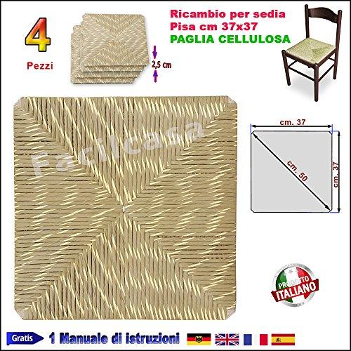 Seduta, fondo, fondino, paglia cellulosa, quadrata 37x37, ricambio sedia, pisa 1002. (4 sedute 1002)