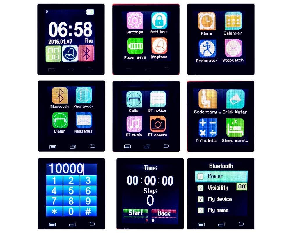 Letopro Smartwatch Bluetooth Reloj Inteligente Android iOS, Smart Watch Teléfono Inteligente De Pulsera con Pódometro/Contador de Calorias, Fitness Tracker para ios android phone(Negro) 6