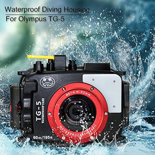Sea frogs 195 Feet/60 Meter Unterwasser Kamera Gehäuse wasserdichtes Gehäuse für Olympus TG5 Schwarz (Gehäuse + Rot Filter)