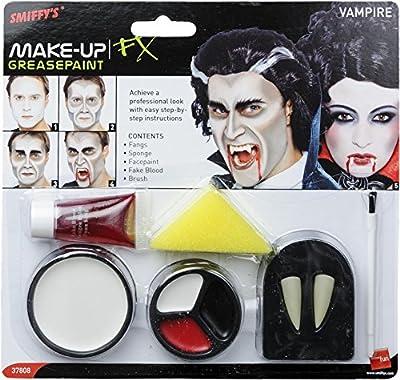 Smiffys Déguisement, Kit de maquillage vampire, avec dents, éponge, pinceau, peinture pour visage et faux sang, 37808