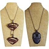 Eshoppee Set Of 2 Pcs Antique Look Designer Iron Man, Superman, Cross Locket Pendant With Chain Necklace Men's Women's Jewellery Dog Tags (4280-81)