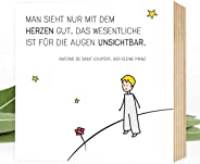 Wunderpixel® Holzbild Der kleine Prinz - 15x15x2cm zum Hinstellen/Aufhängen, echter Fotodruck mit Spruch und Illustration auf