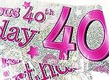 Happy 40th Birthday Jumbo Banner Pink & Silver