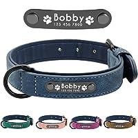 Didog - Collare per cani in morbida pelle imbottita con targhetta personalizzata e anello a D, collare per cani con…