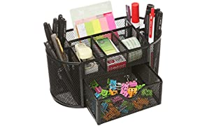 MOCREO Desk Tidy Mesh Desk Organiser Set Office Tidy Organiser Desk Caddy Tray Multi-functional Black Metal Pencil Pot Pencil Holder (Black)
