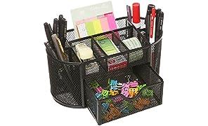 MOCREO® Tisch Organizer Schreibtisch Aufbewahrung Stiftehalter Stiftköcher Stiftablage Schreibtischorganizer Schreibtischbox Metall Mesh 9 Fächer Schwarz NEU