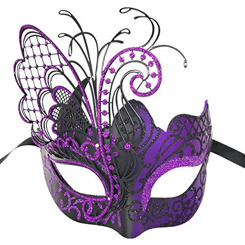 CCUFO [Flying Butterfly] lila / schwarzes Gesicht [funkelnden Flügel] Laser Cut Metall venezianischen Frauen Maske Maskerade / Party / Ball Prom / Mardi Gras / Hochzeit / Wanddekoration