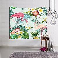 QEES Tapiz de flamencos rosados y plantas exóticas, hojas de palmeras tropicales para decoración del hogar, tapices para decorar el hogar, la habitación, el salón o para colgar en la pared (GT12)