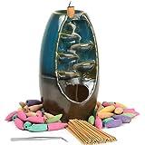 Loopunk - Bruciatore di incenso con flusso di fumo, supporto per incenso, incensiere in ceramica, per casa, ufficio, artigian