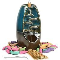Loopunk - Bruciatore di incenso con flusso di fumo, supporto per incenso, incensiere in ceramica, per casa, ufficio…