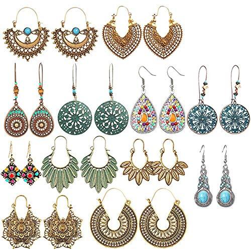 Labota 12 coppie orecchini pendenti vintage per le donne ragazze stile nazionale boemo dichiarazione in rilievo della foglia del petalo di waterdrop orecchini retrò boho set
