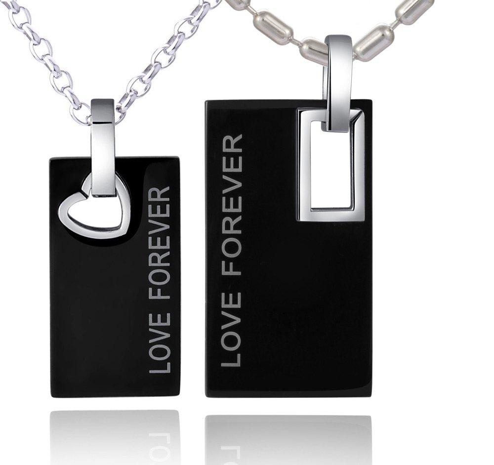 DonDon Unisex Partnerset zwei Halsketten Edelstahl 50 cm bzw. 55 cm und zwei Anhänger Edelstahl in schwarzem Geschenkbeutel