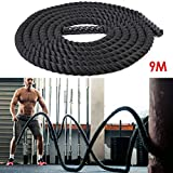 Amzdeal Battle Rope Trainingsseil 9/12/15M Φ3.8cm Sportseil Funktionelles Schwungseil für Fitnessstudio und Muskelaufbau Usw. Fitness Training (9m)