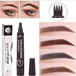 Plovex Waterproof Microblading Eyebrow Tattoo Pen 4 Head Fine Sketch Enhancer Fork Tip Eyebrow Tattoo Tint Eyebrow Gel...