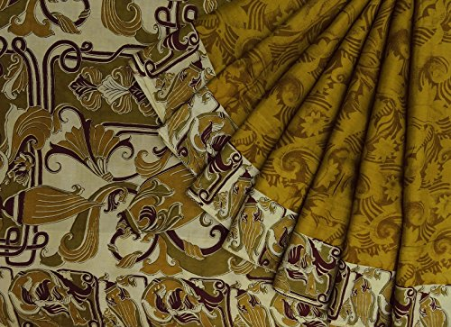 Vintage indiano Verde 100% seta stampata floreale Saree tessuto etnico Usato Sari Verde Oliva