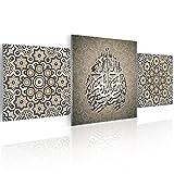 ISLAMODECO Tabelle Basmala Mosaik auf Plexiglas 4mm 140x 60–3teilig–Modernes Design–Orientalische Dekoration–Arabische Kalligraphie–Abstrakte Kunst–Farbe Grège