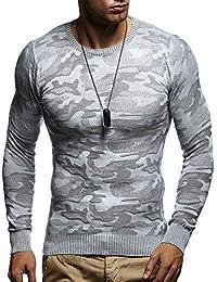 LEIF NELSON Herren Pullover Strickpullover Hoodie Sweatshirt longsleeve langarm Sweater Camouflage Rundhals Crew Neck Feinstrick LN1510