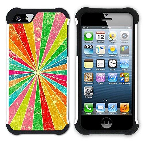Graphic4You Regenbogen Farben Hart + Weiche Kratzfeste Hülle Case Schale Tasche Schutzhülle für Apple iPhone SE / 5 / 5S Design #9