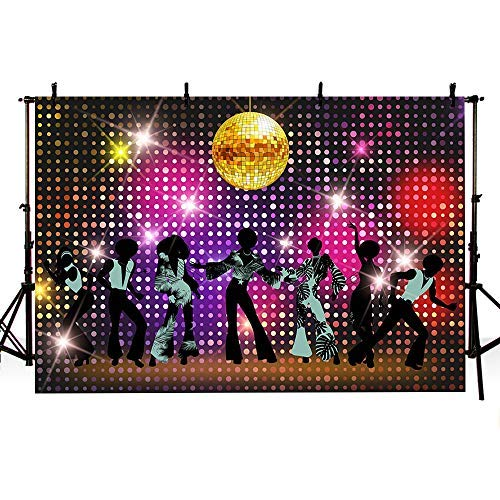 Mehofoto Fotohintergrund Hip-Hop 80er 90er Jahre Motto Party Dekoration Foto Hintergrund 18,72 x 152,4 cm, Disco, 7x5ft