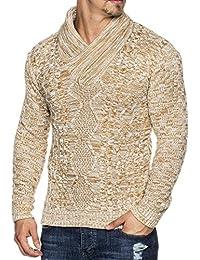 Tazzio 16488 - Jersey de punto con cuello tipo bufanda para hombre, entallado