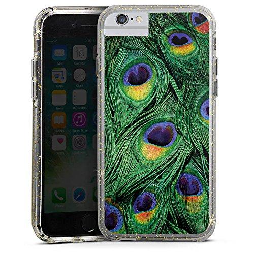 Apple iPhone 6 Plus Bumper Hülle Bumper Case Glitzer Hülle Pfau Federn Dschungel Bumper Case Glitzer gold