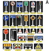 28 Piezas de Accesorios para Juguetes de Coches señales de tráfico para niños y niñas aprenden a Jugar Juegos de Juguetes Gusspower