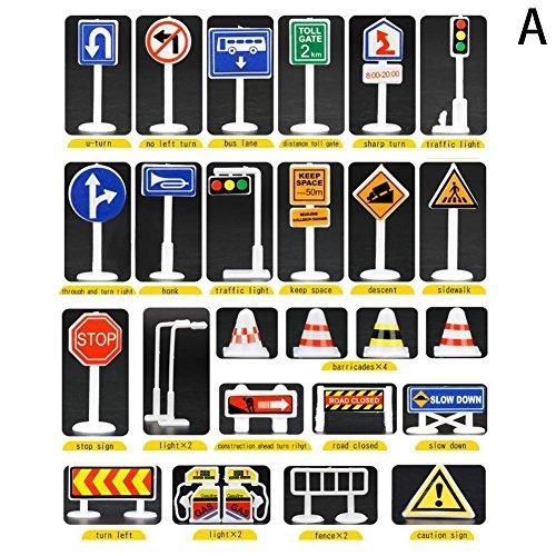 Vovotrade 28 Stück Auto Spielzeug Zubehör Verkehr Verkehrszeichen Kinder Kinder Spielen Lernen Spielzeug Spiel Geburtstagsgeschenk, (A)