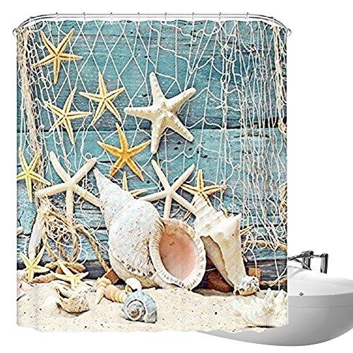Buy Bath Curtains Seashell Conch Starfish Shower Curtain Fishing Nets Beach Ocean Decor