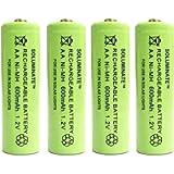 4 x Soluminate™ UK AA Rechargeable Solar Light Batteries 1.2V 600mAh NiMH Ni-MH for use outdoors in Garden Solar Lights