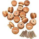 Liwein Houten knoppen, natuurlijke houten kast handgrepen ronde deur lade knoppen met schroef voor keukenkast kast meubels 28