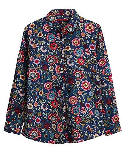 Dioufond Camisas Mujer Estampadas de Flores Manga Larga Blusas Casual Para Mujer(EU 48 - Azul)