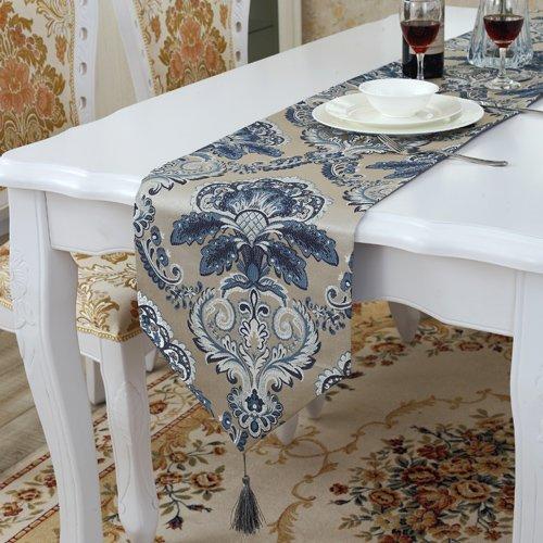 LINA-I tessuti damascati tabella bandiera continentale palazzo di lusso van arts caffè tovaglie bed end,blu,33*180cm asciugamano