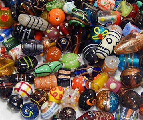 250g Glasperlen Perlenset Bastelset Für Schmuck zur Schmuckherstellung Indische Glas Kinder Perlen Set Silberfolie Lampwork Bunte Halsketten Armband DIY Basteln Schmuck Design (250) (Perlen Indisches Schmuck)