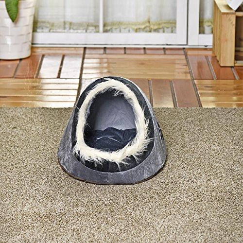JIALUN-Haustier Luxus-Hundehaus-Hundebett-Katzen-Höhlen-Bett-Doppelbenutzungs-Nest für kleine Tierwelpen Kaninchen-Katzen mit verdicken wärmerem Kissen 4 Arten ( PATTERN : 5 )