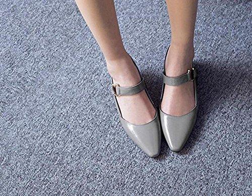 GLTER Femmes Sandales à talons mi-bas Sandales à talons fermés Chaussures en cuir pour femmes Baotou Chaussures de bouche superficielle Chaussures épaisses pointues Chaussures à glissière Gris Blanc Grey