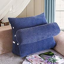 ZGB's Spring Almohadas de la cama Cojines del sofá de la oficina Cojines del triángulo Almohadillas grandes de la parte posterior de la cama Cojín del cuello de la almohadilla del cuello ( Color : Azul oscuro )