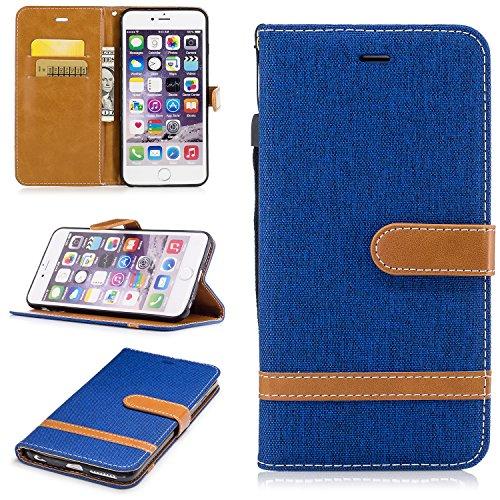 Qiaogle Telefon Case - PU Leder Wallet Schutzhülle Case für Apple iPhone 6 / iPhone 6S (4.7 Zoll) - BF02 / Denim (Schwarz) BF03 / Denim (Hellblau)