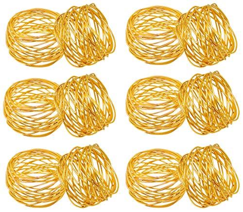 SKAVIJ Snr-001-G12 Gold Serviettenringe Hochzeit Dekoration für Tisch (12 stück)