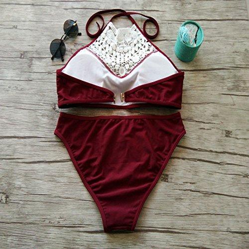 Fashion Bikini Sets Damenmode Swimwear Neckholder Badeanzüge Bikinis für Frauen und Mädchen Weinrot