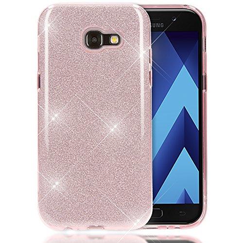 Samsung Galaxy A5 2017 Hülle Handyhülle von NALIA, Glitzer Slim Silikon-Case Back-Cover Schutzhülle, Glitter Sparkle Handy-Tasche Bumper Dünnes Bling Strass Phone Etui für Samsung-A5 17, Farbe:Pink (Pink Hard Case Cover)