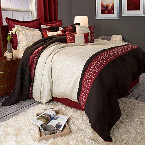 Lavish Home Ashley 9Stück Tröster Set–Queen–Burgund, burgunderfarben, King Size