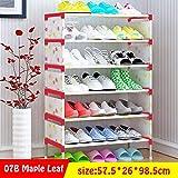 7 capas de rejillas para calzado de tela no tejidas Fácil de instalar Múltiples capas de zapatos Gabinete Estante Organizador de almacenamiento Soporte de pie Ahorro de espacio 07B-Maple-Leaf