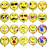 GeMoor 34pcs Emoji Facial Helium Balloons for Party, Birthday Holiday Decoration, 18 Inch
